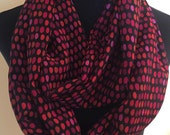 New Handmade Dotted Print, Red, Pink, Orange and Black Infinity Scarf