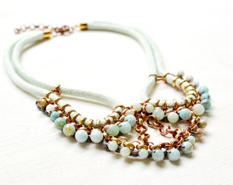 Rope and Amazonite Necklace, Crocheted Chain and Beads Statement Necklace, Mint and Aqua