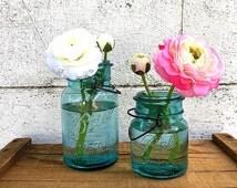 ONE Ball Jar | Vintage Ball Ideal Canning Jar | Jar CHOICE | Quart Jar | Pint Jar | Aqua Blue Glass | Kitchen Storage | NO Lids