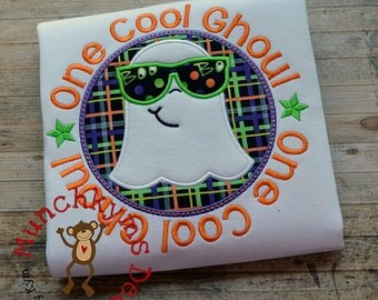One cool GHOUL - Ghost with Sunglasses Halloween Shirt  - Halloween Applique Shirt - Boy's Halloween Shirt - Holiday Designs