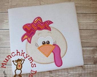 Turkey with Bow Applique Monogrammed Shirt - Girl's Thanksgiving shirt  - Fall shirt - Monogram