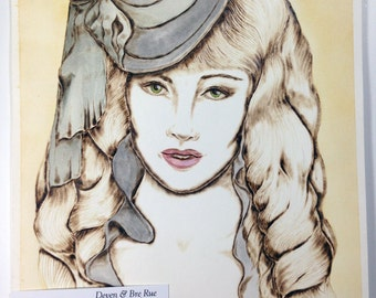 "Lady Grey Original Pyrography & Watercolors on 8x10"" 140 lb. Paper"