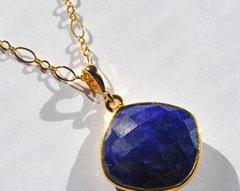 SALE Sapphire Necklace - September Birthstone Jewelry - Long Gold Blue Sapphire Necklace - September Birthstone Necklace