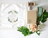 Peonies and Greens Mother of the Bride Handkerchief.  Lace edge Handkerchief. Ivory handkerchief. Mother of the Bride Handkerchief