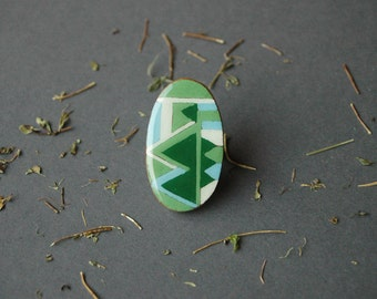 Green wood ring,geometric wooden ring, statement ring