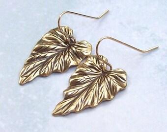 Gold Leaf Earrings, Dangle Earrings, Gold Earrings,14K gold filled, gf, oxidized, brass, fashion, bridal, weddings