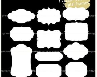 ON SALE white digital frame clip art, bracket frames, white line frame,frame A-232, label, tag, scrapbooking, instant download