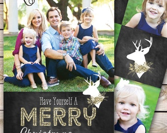 Christmas Card Photo Greeting Card Printable 5x7 Christmas Card Holiday Greeting Card