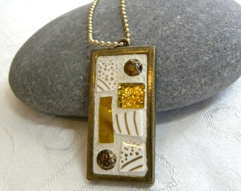 Mosaic Pendant - GOLD Shimmer -  Jewelry Necklace - Stained Glass - Beads