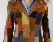 Vintage 1970's Rainbow Leather & Suede PaTcHwOrK HiPPiE RoCk STaR Western Jacket S M