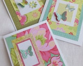Butterfly Cards, Bright Colors, 3 Cards, Blank Inside