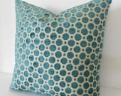Dark turquoise velvet decorative pillow cover