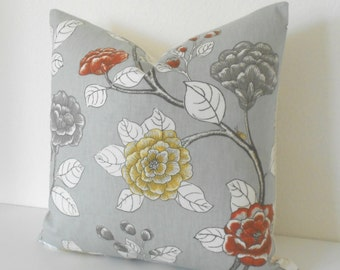 Gray, yellow and orange peony floral decorative pillow cover, Dwell Studio pillow