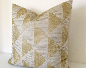 Gold metallic geometric triangle decorative throw pillow cover