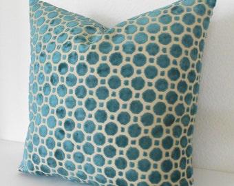 Dark turquoise velvet decorative pillow cover