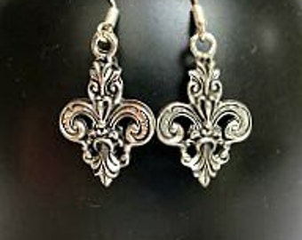 Silver Fleur De Lis Earrings - Fleur de Lis Dangle Earrings - Fancy Scroll Fleur de Lis - French Earrings - Earrings - New Orleans Earring