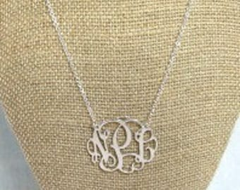 Sterling Silver Initial Necklace - Monogram Necklace - Silver Monogram Necklace - Personalized Jewelry - Women's Monogram Necklace - Jewelry