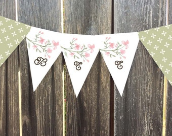 Instant Download - Printable Pennant, Bunting Banner - Shelly - Coarl Watercolor Flowers