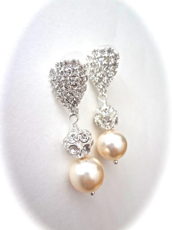 Pearl earrings ~ Chunky ~ Swarovski pearls and rhinestone fireballs ~ Elegant  ~ Bridal Jewelry ~ Brides earrings ~ Bridesmaids, Gift,LOLITA