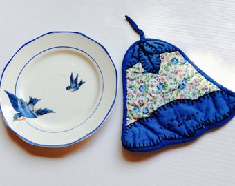 Colonial Sterling China Blue Swallow Plate and Vintage Pot Holder
