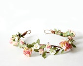 Champagne Pink Floral Crown, flower crown, Woodland, Autumn Flower Crown, fall, wedding, Bridal, Bridal Headpiece, pink