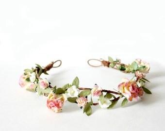 Champagne Pink Floral Crown, flower crown, Woodland, Autumn Flower Crown, fall, wedding, Bridal, Bridal Headpiece, pink