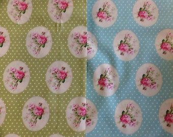 Free Spirit - Sunshine Roses by the half metre in blue and green