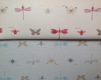 Porter and stone designer upholstery fabric dragonfly in rosso and duck egg by the half metre