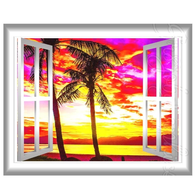 Window Frame Wall Art palm trees at sunset tropical beach scene wall decal 3d
