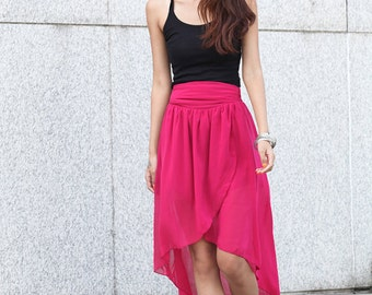 On Sale Size S Summer Maxi Skirt Chiffon Skirt in Rose Red - NC396-2