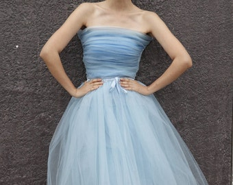 On Sale Size S Tulle Skirt  Elastic Waist tulle tutu Princess Skirt in Light Blue - NC508-1