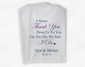 Sweet Thank You Wedding Candy Buffet Treat Bags - Navy and Purple Personalized Favor Bags with Couple's Names and Wedding Date (0054-3)