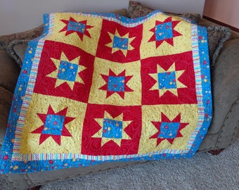 Stars Baby Quilt, Primary colors Quilt 0823-03
