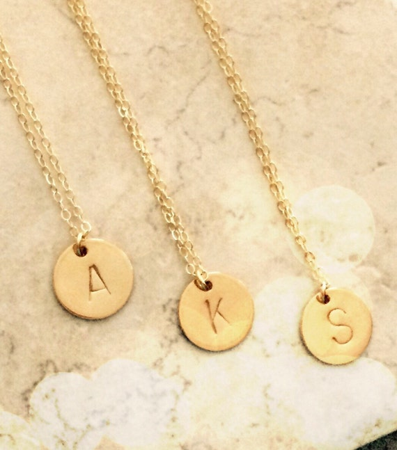 gold initial necklace pendant necklace personalized necklace