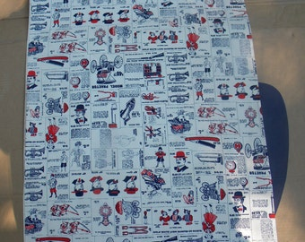 d4    great shape clean vintage BOLT of  victorian ads advertising cotton FABRIC 14 yards for drapes curtains UPHOLSTERY
