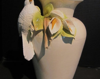 Beautiful Ceramic Vase with Cala Lilies and Dove