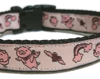 Pink Piggies Adjustable Dog Collar - 3/4 Inch Wide