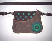 Hip Bag with front pocket Fanny Pack Hip Purse Belt Pack -bike bicycle tote- Small Sling Purse Dots Wallet mixed fabrics Brown Tuqruoise