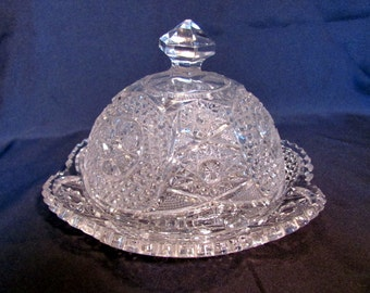 Crystal Glass Domed Butter Dish with Underplate