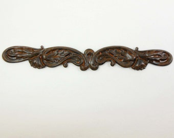 Brass Stampings, Brass Floral Bar, Floral Leaf Motif, Rusty Black Patina, US Made, Nickel Free, 4.25 Inches, Item04155