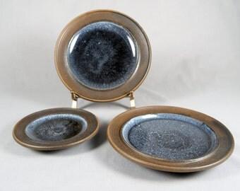 3 Jacob Bang, Danish Modern Studio Pottery, Hegnetslund Denmark, plates, chargers, shallow bowls, B65B, B65A