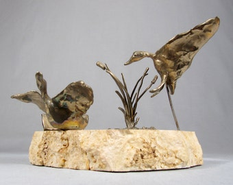 RJ Kinship, Mid Century Modern, Bronze Table Sculpture, Ducks with Cattails on Alabaster Base
