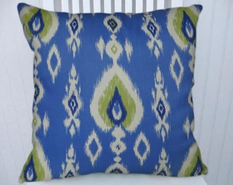Blue Green Ikat Pillow Cover- Decorative Throw Pillow Cover  18x18 or 20x20 or 22x22- Lumbar Pillow Cover- Accent Pillow