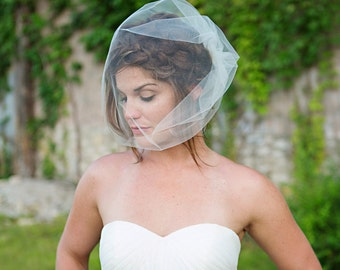 Birdcage Veil - Tulle Wedding Veil, Bridal veil - extra long birdcage - ivory, white - VE410 - READY TO Ship