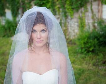 Honeycomb Veil, Wedding Fingertip Length Bridal Veil, ivory, white, VE412