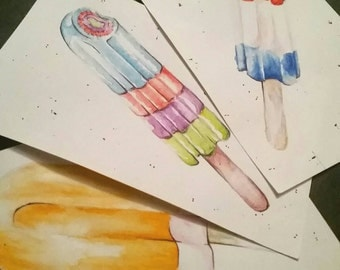 Popsicle Watercolor Print - Gift - Art - New Year