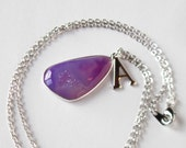 Purple Druzy Crystal Necklace, Gift for Her, Unique Initial Necklace, Raw Stone Jewelry