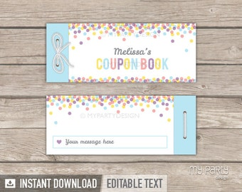 Personalised Coupon Book - Pastel Confetti Design - Valentine's Day Gift - Birthday - INSTANT DOWNLOAD - Printable PDF with Editable Text