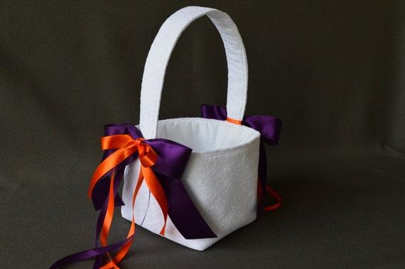 Lace wedding flower basket with plum purple and orange satin ribbon bows