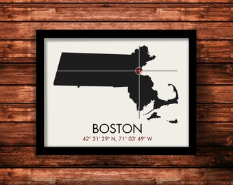 Boston Map Print   Boston Map Art   Boston Print   Boston Gift   Massachusetts Map   11 x 14 Print
